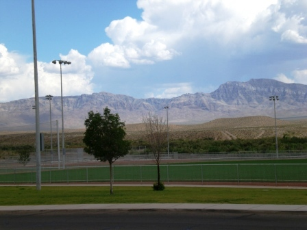 View across street looks at Virgin Valley Mountains