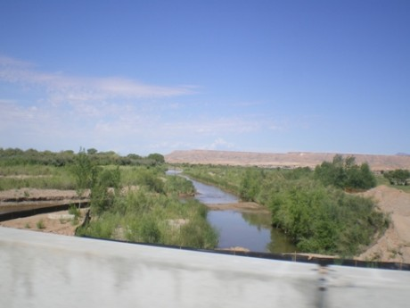 photo from bridge over Virgin River connecting Mesquite NV and Bunkerville NV