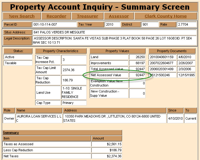 Clark County Nv Real Property Taxes